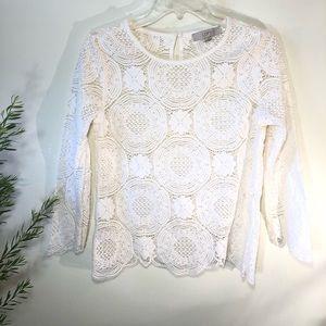LOFT lace 3/4 sleeve top